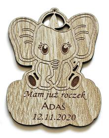 MAGNESY z okazji urodzin roczek chrzest komunia prezent dla gości PODZIĘKOWANIE słonik na szczęście dla chłopca