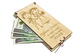 ETUI na PIENIĄDZE z drewna GRAWER pudełko na ślub prezent z życzeniami MŁODA PARA mąż i żona SERIA LOVE