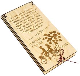 ETUI na PIENIĄDZE w dniu ślubu GRAWER pudełko na ślub prezent z życzeniami MŁODA PARA para na rowerze SERIA LOVE