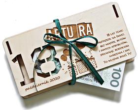 PUDEŁKO na PIENIĄDZE urodzinowe życzenia na 18 30 40 50 60 prezent na urodziny etui opakowanie drewniane dekoracje