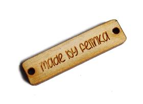 Metka metki do koszyka handmade drewniane jeansówka TWÓJ TEKST 4x1cm wszywka guzik napis ozdoba dekoracja 10 sztuk
