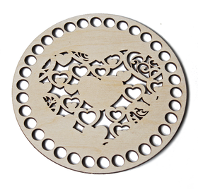 KOŁO BAZA serce szydełkowanie podkładki denko wieczko drewniane ażur podkładka dno do pudełka 15cm
