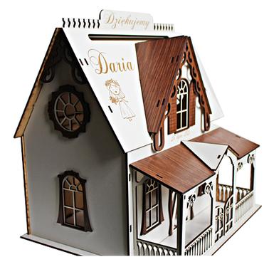NOWY WZÓR BIAŁY Domek PUDEŁKO box skrzynka na koperty życzenia podziękowania ślub urodziny parapetówka